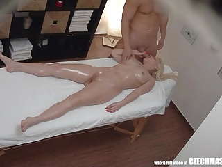 Busty Blonde Rides Masseur