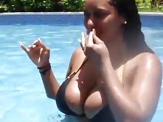 Busty Girl on Pool