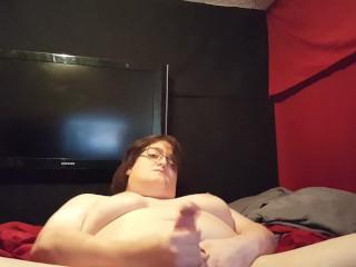 Chubby Tranny Cock and Boobie Play