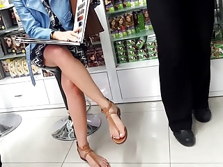 her cute legs, french pedicured toes at hairdresser