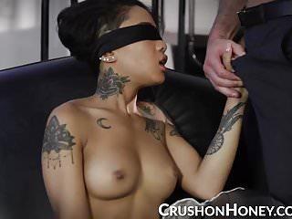 CrushGirls - Petite Honey Gold blindfolded and fucked