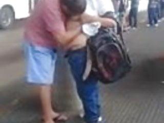 bbw let stranger suck her boobs in public place