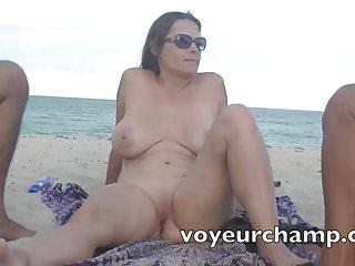 VoyeurChamp.com Exhibitionist Wife Nude Beach Foot Massage!