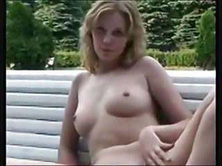 Nude in public with legs spread