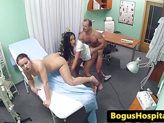Real euro nurse cumsprayed in trio with doc