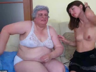 Young Girl and old chubby Granny mastubate
