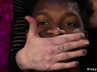 Brunette dominates black slave