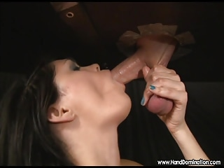 emo chick loves his huge testicles during gloryhole blowjob