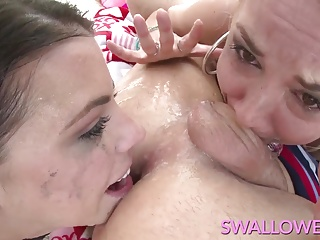 SWALLOWED Adriana and Sarah sloppy deepthroat blowjob