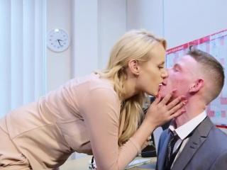 Horny stud fucks his busty boss slut