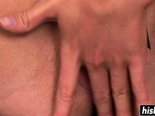 Nasty babe plays with two dicks