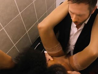 Beautiful ebony stewardess gets fucked in public toilet