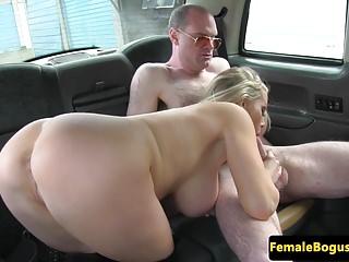Busty british cabbie dominates passenger