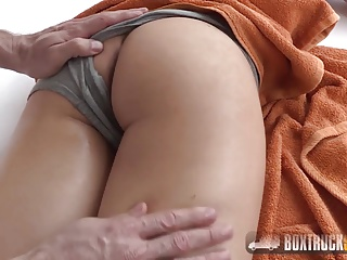 Aurelly Rebel gets a massage on her perky ass
