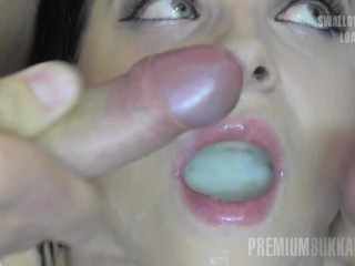 Premium Bukkake - Elya swallows 51 huge mouthful cum loads