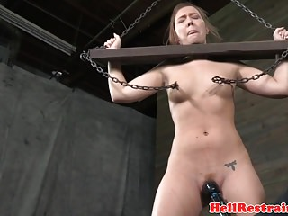 Pillory sub whipped by maledom while bound