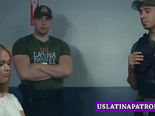 Latina babe interrogated and fucked hard by a patrol officer
