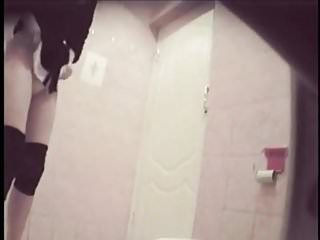 Girl changes tampon, toilet spy cam