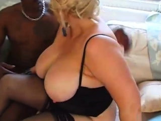 Blonde BBW Kirstyn Halborg Swallows Big Black Cock