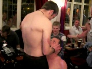 Str8 Footballers strip in a pub