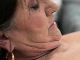 Chunky grandma takes cum