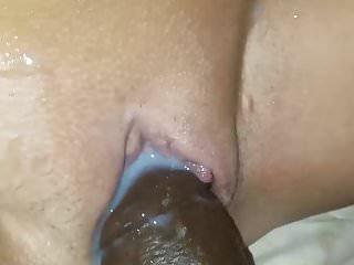 Greek girl with amazing tits takes Big Black dildo