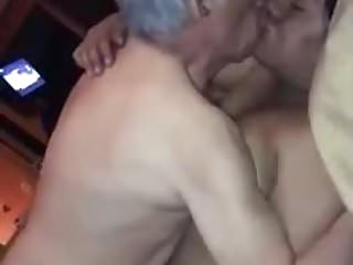old man enjoying with a couple