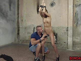 Skinny babe Katy Sky getting a painful whipping and vibe