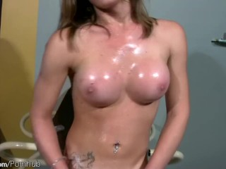 Teen transsexual teases slobbery tits and jerks till cumshot