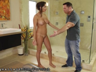 Ashley Adams Daddy Caught her Fucking Massage Client!