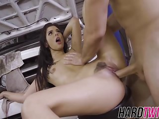 Horny Gina sucks big cock and gets pounded hard on the car