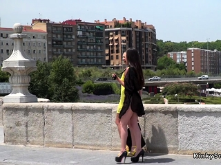 Mistress helps teen fuck in public