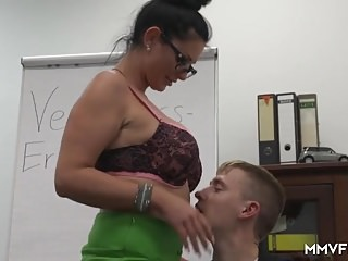 German Busty Milf Secretary likes them young