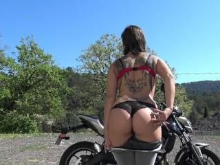 French Biker Girl Undress on Public Parking - Motarde à Poil Dehors