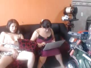 Colombian teen play in front her mother