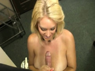 Cheating MILF tugs cock and gets cumontits