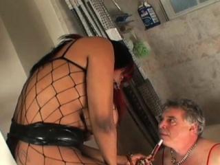 Dark babe humiliates white stud before sucking dick