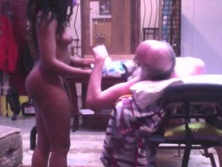 Sexy Ebony Escort sex on massage table with older man