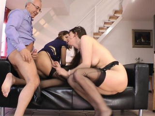 Classy MILF trio with youngster until facial