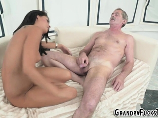 Latina rides horny gramps