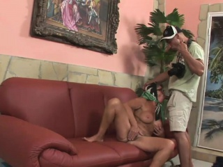 Horny granny gets her pussy plowed