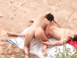 Nude Beach - Fat Pussy Chubby Fuck & CIM BJ - Filmed by Voye