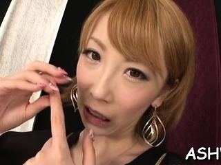 Japanese gal gives head, bends over and gets drilled hard