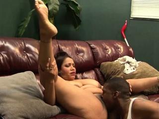 Busty milf pleasures a black guy