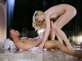 Pretty blonde gets cum