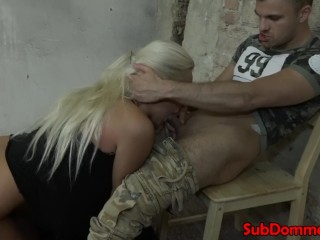 Ball gagged restrained sub sucks doms cock