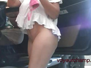 VoyeurChamp.com Upskirt Wife Heather Public Pussy Flashing!