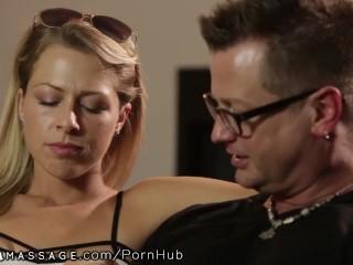 Lesbian Masseuse seduces Straight Girl Zoey