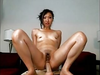 Asian Teen Rides Dildo with her Ass & Hairy Cunt on Webcam