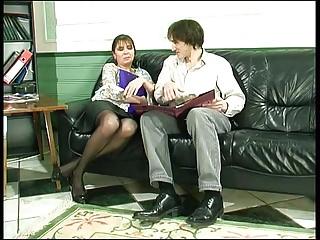 Russian mature Orsi anal fucked on sofa